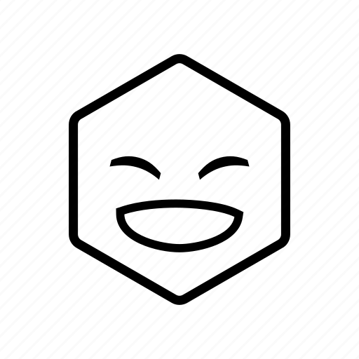 emoticon, hexagon, laugh, laughing icon
