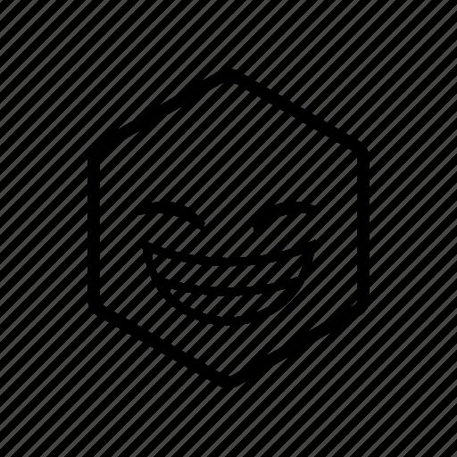 big grin, emoticon, funny, hexagon, joke icon