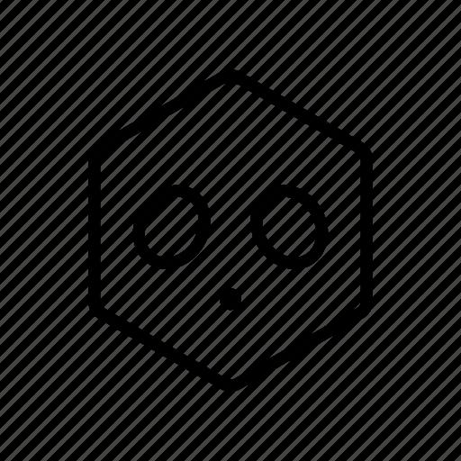 emoticon, hexagon, shocked, surprised icon