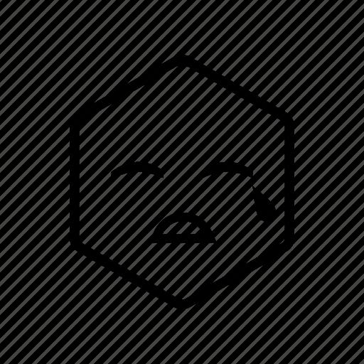 crying, emoticon, hexagon, sad icon