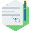 agreement, paper, pen, sign, signature icon