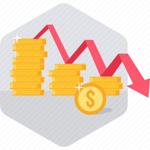 finance, low sales, presentation, revenue down, sales, sales down icon