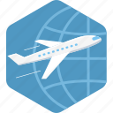 airplane, flight, global, international, travel icon