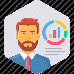 analysis, diagram, employee, graph, presentation, report icon