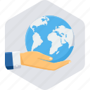earth, gesture, globe, hand, save world, world icon