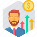 bank, employee, hike, officer, payment, performance, salary icon