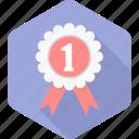 badge, number one, achievement, prize, reward, star, winner