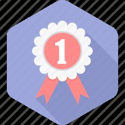 achievement, badge, number one, prize, reward, star, winner icon