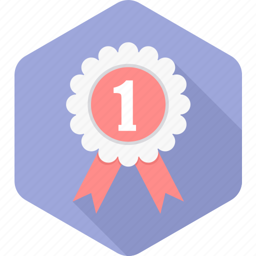 achievement, badge, number one, prize, reward, star, winner icon