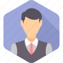 boy, employee, male, office, staff, waiter, writer icon