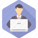 avatar, business, businessman, busy, man, work, working icon