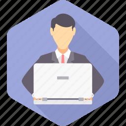 avatar, business, businessman, busy, man, work, working icon