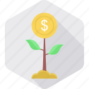 ecology, grow, growth, money, money tree, plant, savings icon
