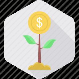 ecology, grow, growth, money, money tree, plant, savings icon