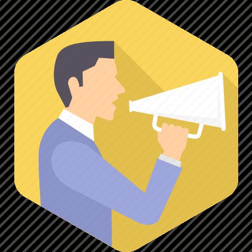announce, announcement, announcer, loud, loudspeaker, megaphone, speaking icon
