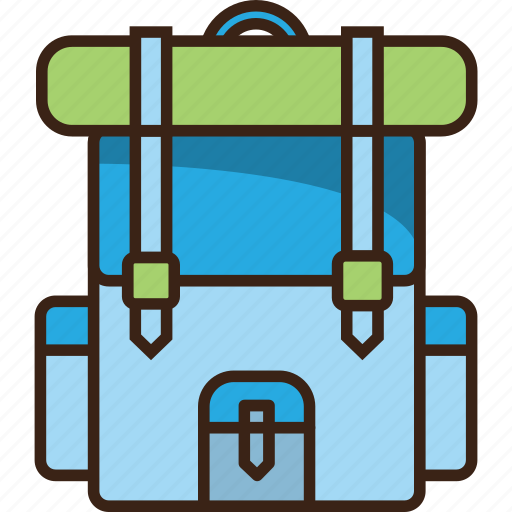 backpack, bag, baggage, camping, trekking icon