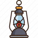 camping, fire, guide, lamp, lantern, light, trekking icon