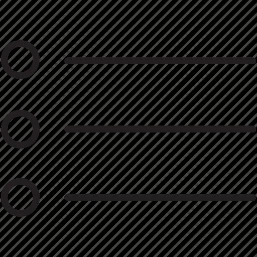 bullet, checklist, hierarchy, lines, organize, round, text icon