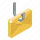 cybercrime, email hacking, hacking, phishing, phishing email, ransomware icon