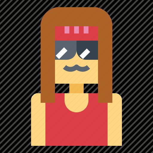 hairy, hippie, man, moustache icon