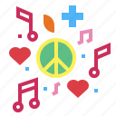 hearts, music, peace, song icon