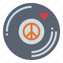 love, music, peace, vinyl icon