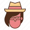 face, girl, hipster geek, smile, user hat icon