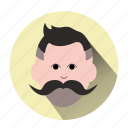 avatar, character, hipster, man, mustache, persons, user icon