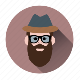 avatar, beard man, bearded, bewhiskered, character, hipster, man icon