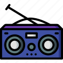 hipster, music, radio, retro, vintage icon