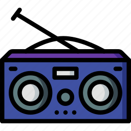 hipster, music, radio, retro, vintage icon