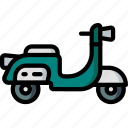 hipster, piaggio, retro, scooter, transport, vespa icon