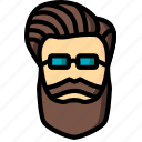 combed, hipster, retro, style, vintage icon