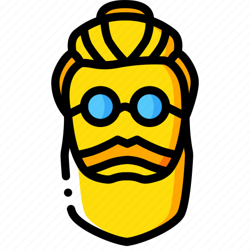 hipster, knot, top, yellow icon