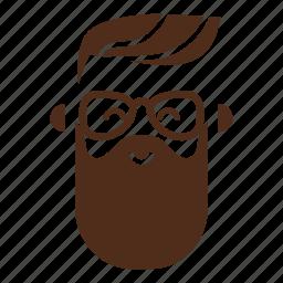 avatar, beard, face, glasses, hipster, man, moustache icon