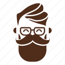 avatar, beard, face, glasses, hipster, man, moustache icon