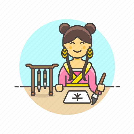 avatar, calligrapher, calligraphy, history, ink, woman, write icon