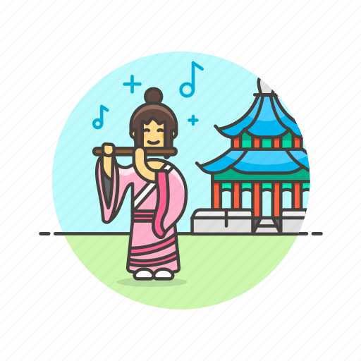 chinese, flute, history, instrument, music, performer, temple, woman icon