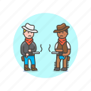 cowboy, duel, gun, history, man, men, west, wild icon