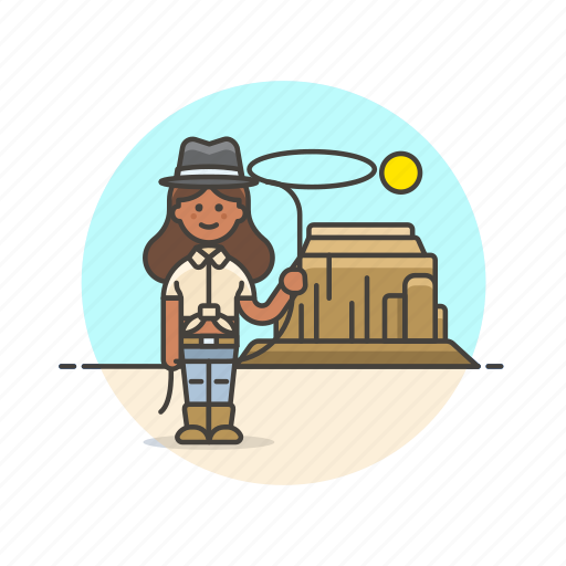 cowboy, desert, hat, history, lasso, wild, woman icon