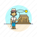 cowboy, hat, history, lasso, west, wild, woman icon