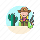 cactus, cowboy, gun, hat, history, west, wild, woman icon