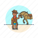 cowboy, history, horse, man, rider, tame, west, wild icon