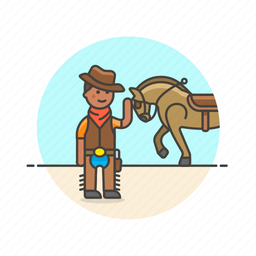 cowboy, history, horse, man, rider, tame, west, wild icon