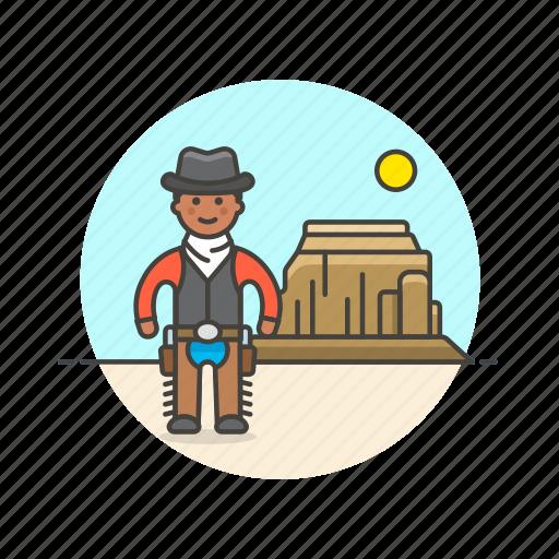cowboy, gunman, hat, history, man, west, wild icon