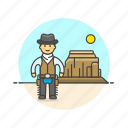 cowboy, desert, gunman, hat, history, man, west, wild icon