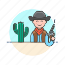 avatar, cactus, cowboy, gun, history, man, west, wild icon
