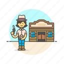 cowboy, gun, hat, history, tavern, west, wild, woman icon