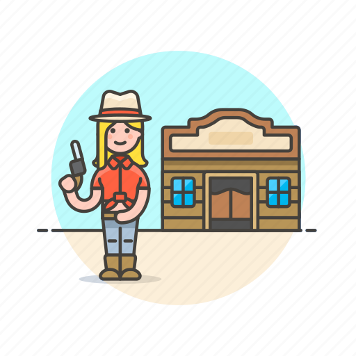 cowboy, gun, hat, history, tavern, west, wild, woman icon