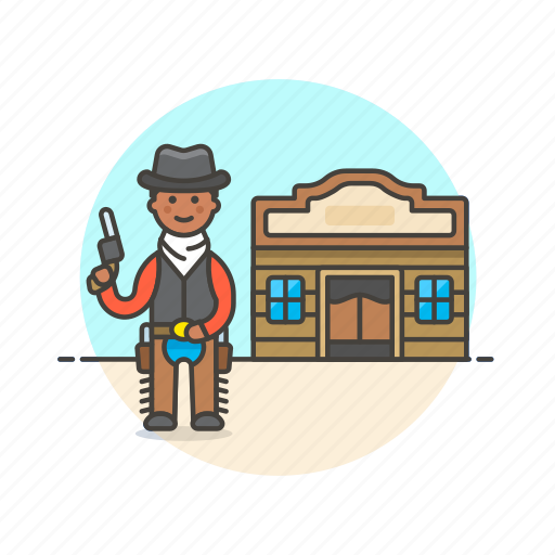 cowboy, gun, hat, history, man, tavern, west, wild icon